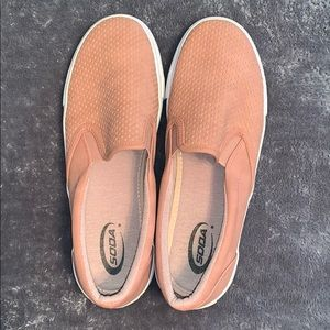 Dusty rose slip on shoes